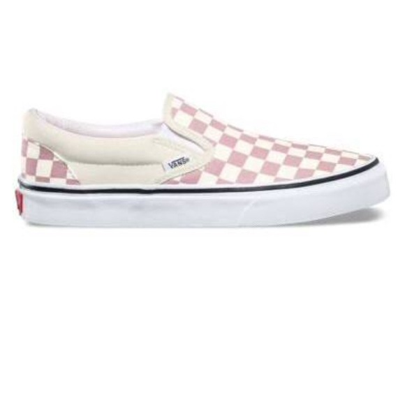 4a6a8a926a New Vans Checkerboard Slip on Zephyr Pink White -9